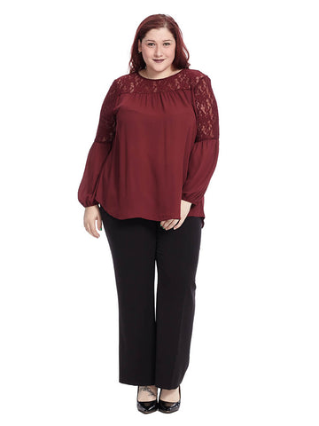 Maroon Top With Lace Sleeves