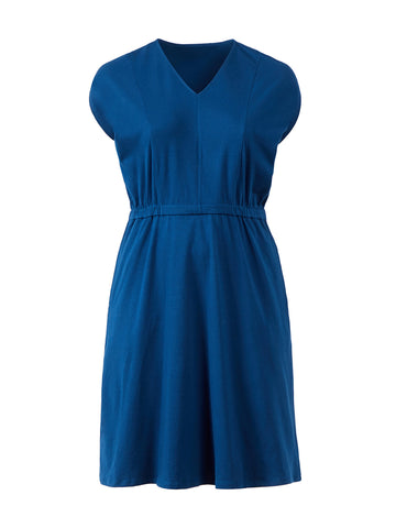 Dolman Sleeve Navy Fit-And-Flare Dress