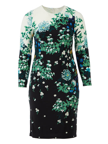 Black Mint Floral Sheath Dress