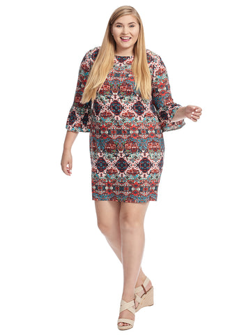 Bell Sleeve Medallion Printed Shift