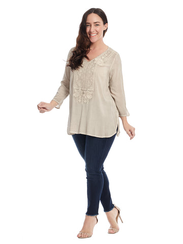 Embroidered Taupe Top