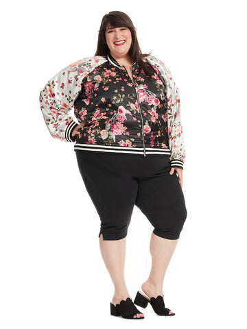 Satin Bomber Jacket In Black/Ivory Floral Print