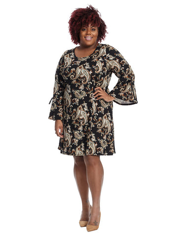 Shift Dress With Tie Sleeve Detail In Paisley Print