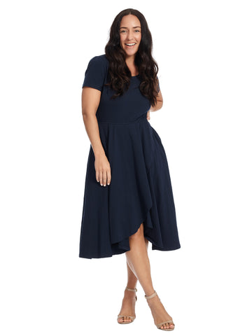 Scoop Neck Short Sleeve Tulip Hem Navy Dress