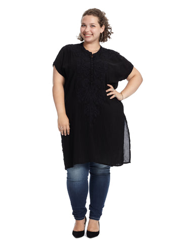 Embroidered Midnight Black Tunic