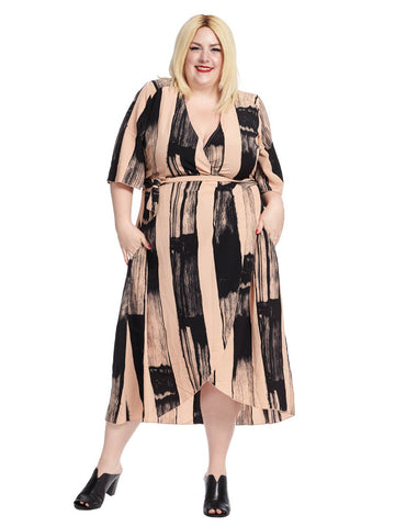 Brushstroke Stripe Wrap Dress