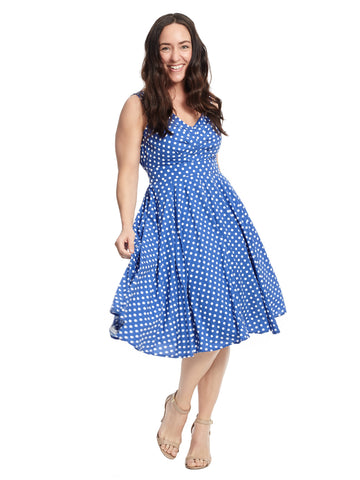 Fit And Flare Dress In Blue Polka Dot