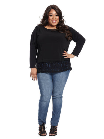 Crew Neck Top With Lace Bottom Trim In Black