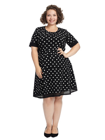 Mesh Detail Polka Dot Fit And Flare Dress