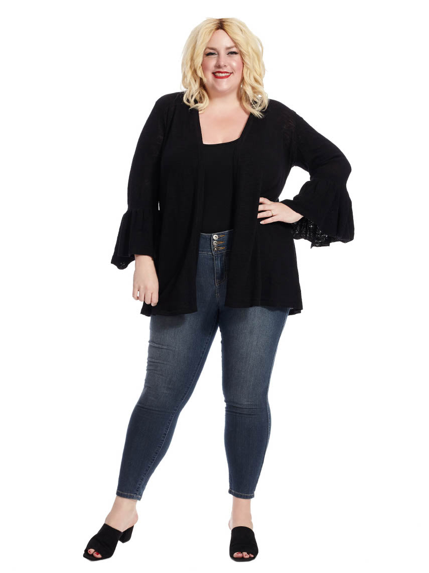 Open Front Cardigan With Bell Sleeves