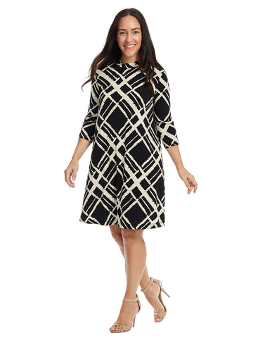 Abstract Black And White Plaid Shift Dress