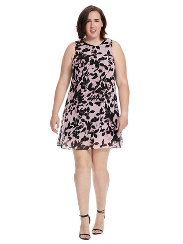 Trapeze Dress In Floral Shadow