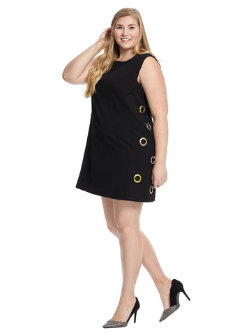 Grommet Detail Shift Dress