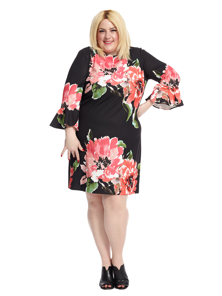 Floral Printed Bell Sleeve Shift Dress