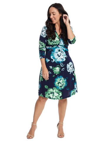 Twist Front Floral Fit And Flare Dress