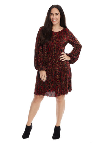 Dress With Split Puffed Sleeve In Multi Paisley Print