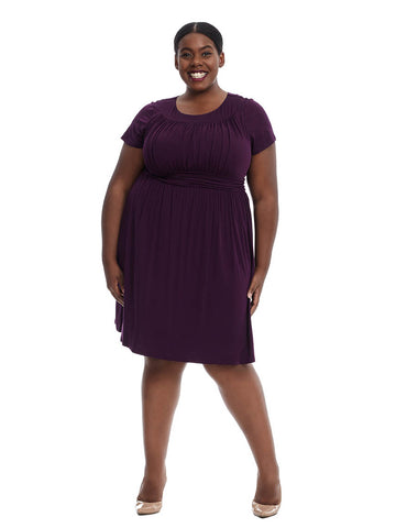 Short Sleeve Dress With Rouching Detail In Purple
