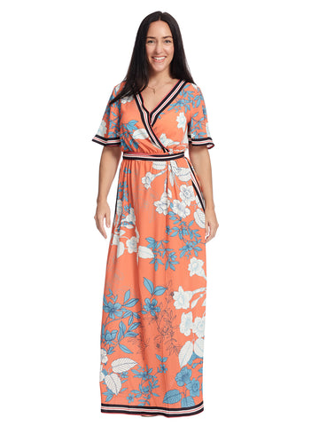 Surplice Orange Floral Print Maxi Dress