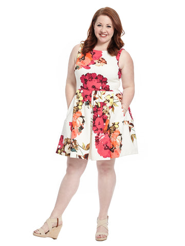 Sleeveless Floral Printed Scuba Dress In Red And White