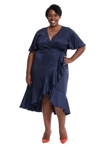 Navy Flounce Wrap Dress