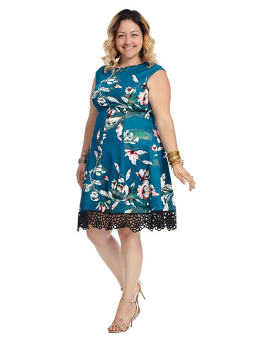 Lace Hem Blue Floral Fit And Flare Dress