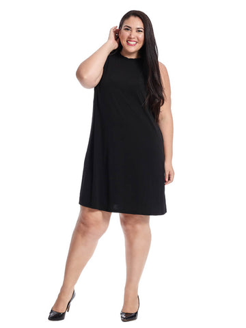 Shift Dress In Black With Ruffle Detail