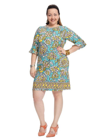 Bell Sleeve Grotto Printed Blake Dress