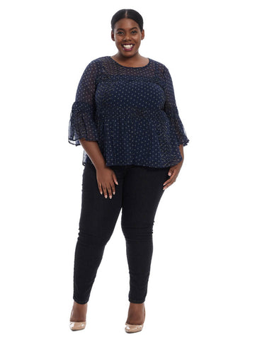 Shirred Peasant Top In Navy