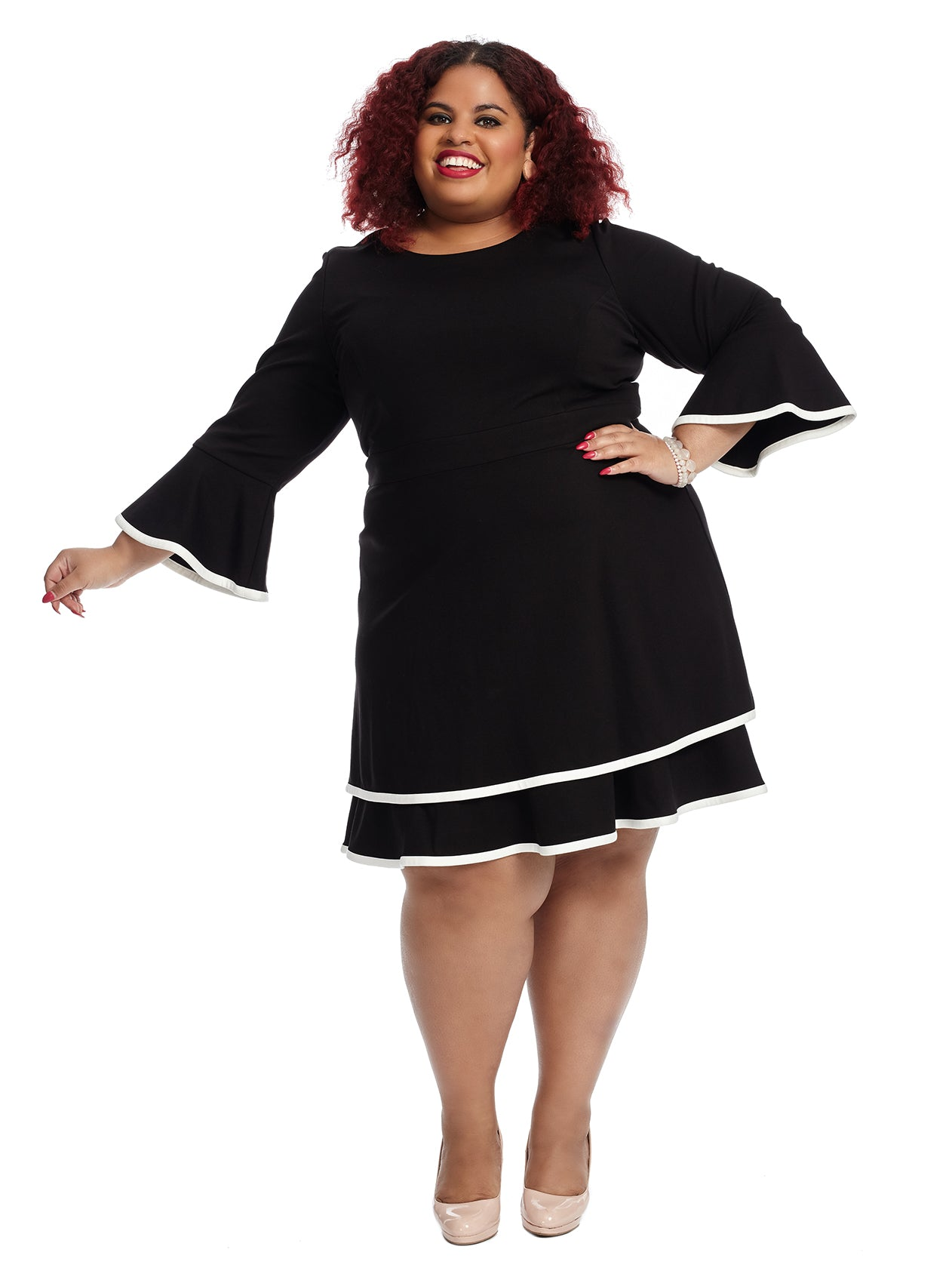 Bell Sleeve Ponte Fit And Flare Dress Eliza J Gwynnie Bee Rental Subscription