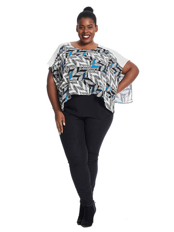 Printed Top In Urban Deco