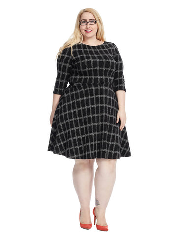 Circle Dress In Windowpane Jacquard