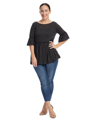Bell Sleeve Charcoal Top