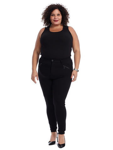 Black Zipper Legging Pants