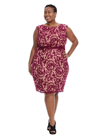 Lace Boatneck Dress In Crushed Berry