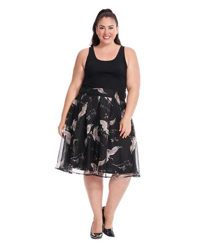 Chiffon Midington Skirt In Crane Print