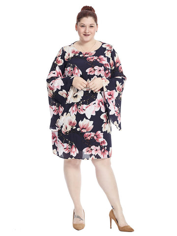 Shift Dress With Bell Sleeves In Floral Print