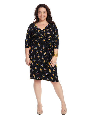 Bird Print Faux Wrap Dress