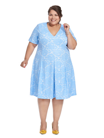 Short Sleeve Periwinkle Lace Fit and Flare Dress
