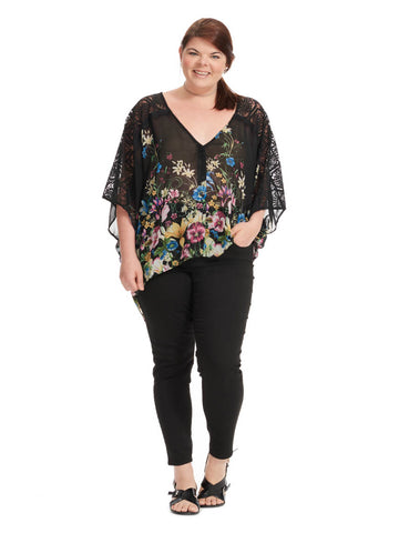 Lace Sleeve Blouse In Black Floral Print