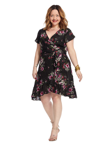 Cap Sleeve Black Floral Print Lolita Wrap Dress