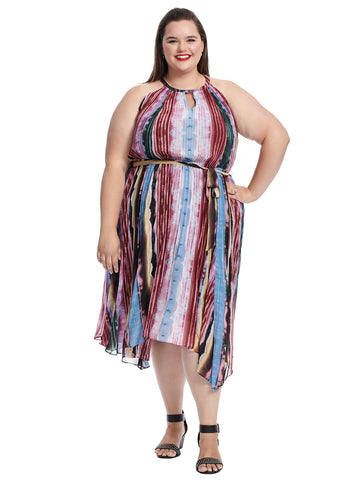 Pleated Tie Dye Maxi Dress