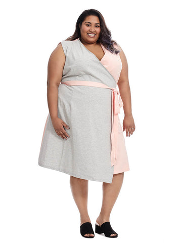 Colorblock Wrap Dress In Grey And Pink