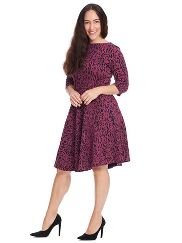 Circle Dress In Leopard Jacquard