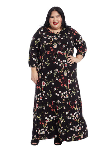 Three-Quarter Ditsy Floral Mazy Dress