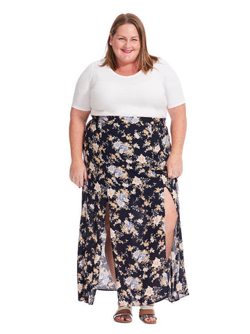 Maxi Skirt In Black Floral Print