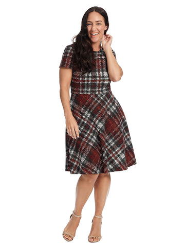Short Sleeve Red Plaid Fit And Flare Dress
