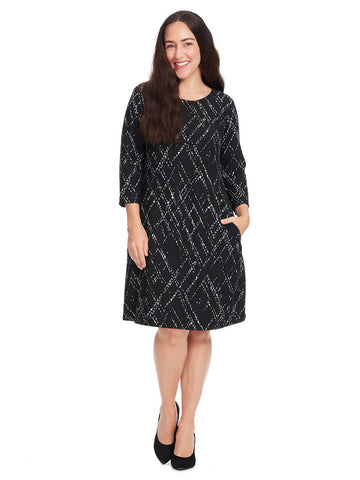Abstract Check Print Dress In Black & Ivory