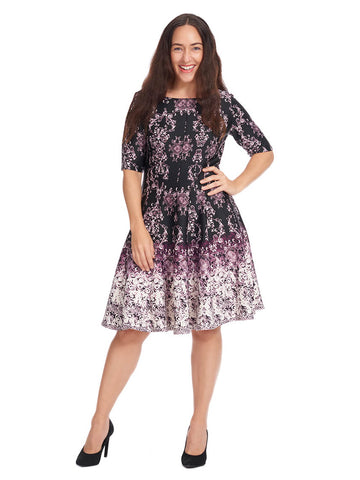 Short Sleeve Dress In Black And Purple Print