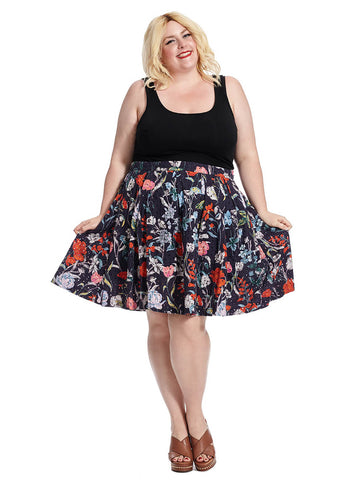 Embroidered Flare Skirt In Floral Print