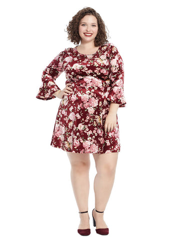 Bell Sleeve Dress In Burgundy Mauve Floral Print